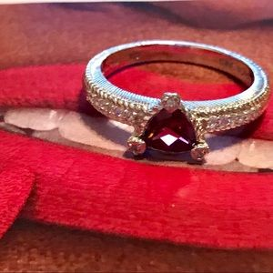 JUDITH RIPKA TRILLION CUT GARNET & DIAMONIQUE RING